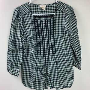Anthropologie Meadow Rue Gingham Button Down Top